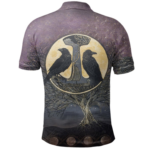 1stIceland Viking Polo Shirt, Raven And Tree Of Life K5 - 1st Iceland