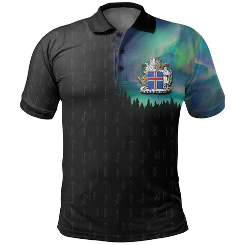 1stIceland Polo T-Shirts, Northern Lights Elder Futhark Iceland Coat Of Arms K7 - 1st Iceland