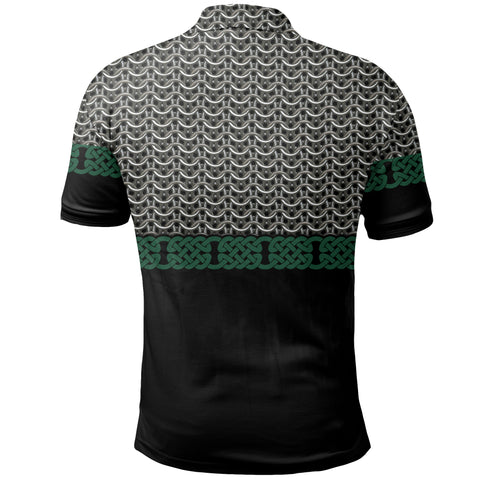 Image of 1stIceland Viking Sword Polo Shirt Mix Celtic Patterns Green TH4
