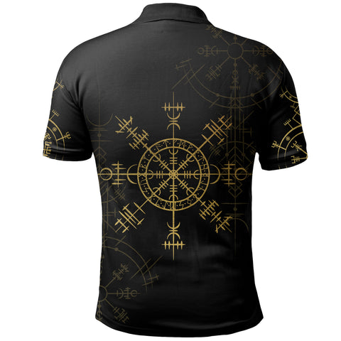1stIceland Magic Ancient Viking Tattoo Polo Shirt Gold TH4