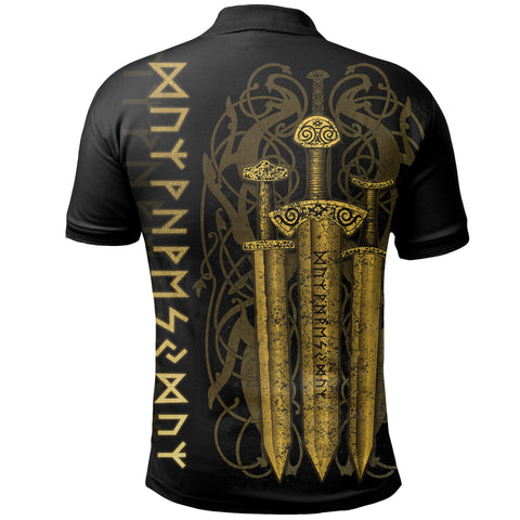 1stIceland Viking Sword Polo Shirt Gold TH4