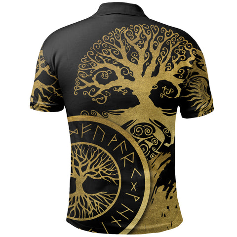 1stIceland Viking Yggdrasil Polo Shirt Gold TH4 - 1st Iceland