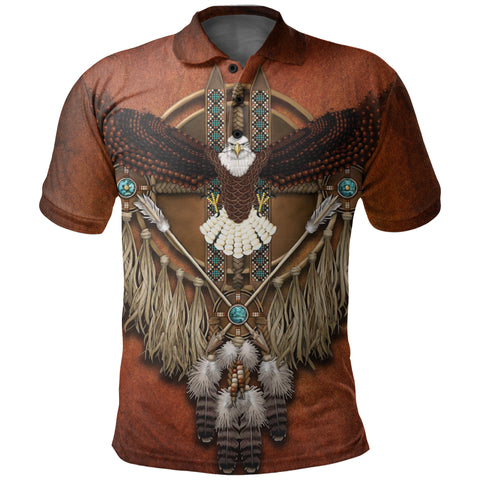 1stIceland Native American Polo Shirt Eagles Dreamcatcher TH4 - 1st Iceland