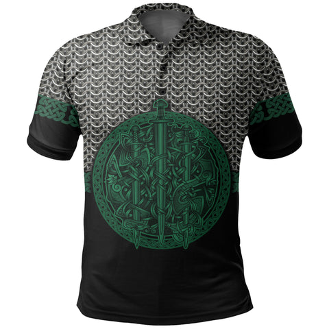 Image of 1stIceland Viking Sword Polo Shirt Mix Celtic Patterns Green