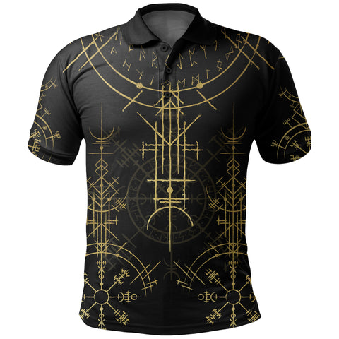 1stIceland Magic Ancient Viking Tattoo Polo Shirt Gold