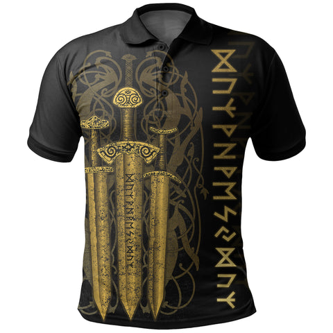 1stIceland Viking Sword Polo Shirt Gold TH4 - 1st Iceland