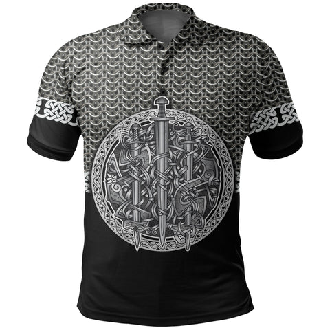 1stIceland Viking Sword Polo Shirt Mix Celtic Patterns TH4 - 1st Iceland