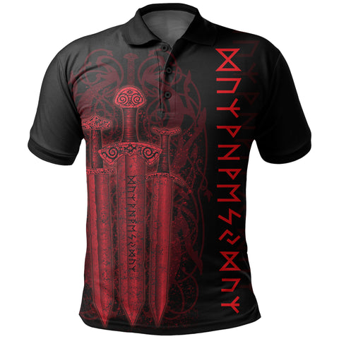 1stIceland Viking Sword Polo Shirt Red TH4 - 1st Iceland