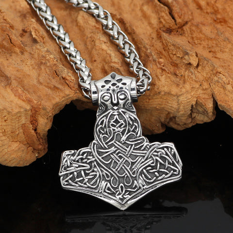 1stIceland Jewelry, Norse Vikings Mjolnir Thor's Hammer Stainless Steel Necklace - 1st Iceland