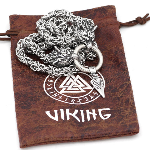 Image of 1stIceland Jewelry, Norse Vikings Wolf With Odin Sword Gungnir Stainless Steel Necklace - 1st Iceland