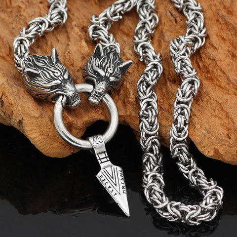 1stIceland Jewelry, Norse Vikings Wolf With Odin Sword Gungnir Stainless Steel Necklace - 1st Iceland