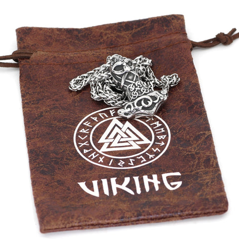 Image of 1stIceland Jewelry, Norse Vikings Thor Face Hammer Amulet Stainless Steel Necklace - 1st Iceland