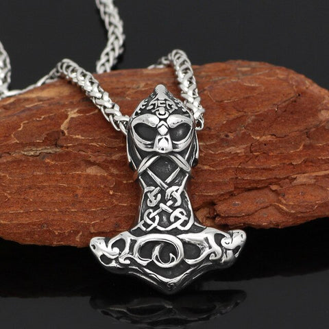 1stIceland Jewelry, Norse Vikings Thor Face Hammer Amulet Stainless Steel Necklace - 1st Iceland