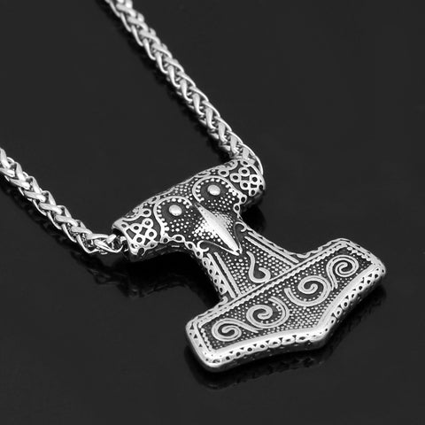 Image of 1stIceland Jewelry, Norse Vikings Thor Hammer Raven Knot Stainless Steel Necklace - 1st Iceland