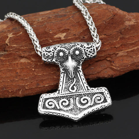 1stIceland Jewelry, Norse Vikings Thor Hammer Raven Knot Stainless Steel Necklace - 1st Iceland