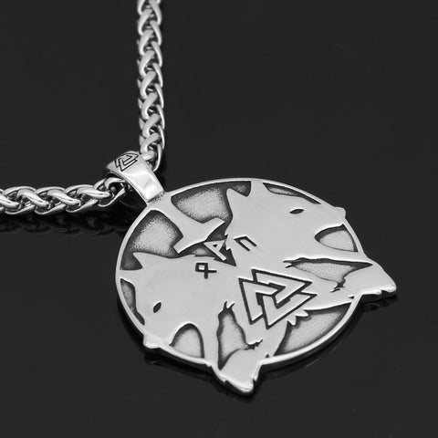 1stIceland Jewelry, Norse Vikings Odin Wolf Geri And Freki Rune Stainless Steel Necklace - 1st Iceland