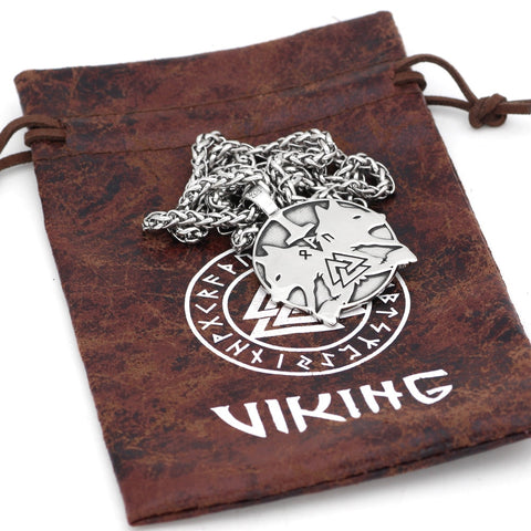 Image of 1stIceland Jewelry, Norse Vikings Odin Wolf Geri And Freki Rune Stainless Steel Necklace - 1st Iceland