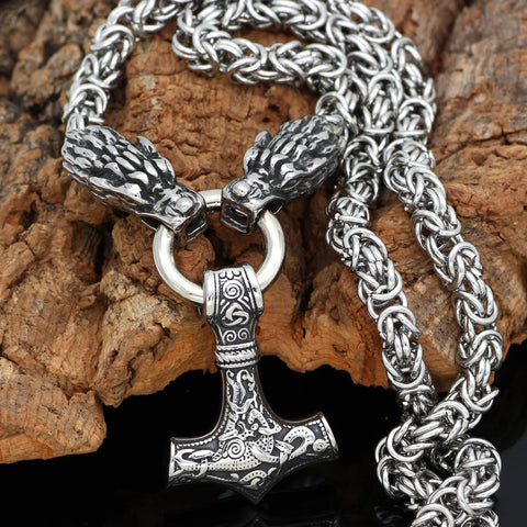 1stIceland Jewelry, Norse Vikings Wolf Head With Thor Hammer Stainless Steel Necklace - 1st Iceland