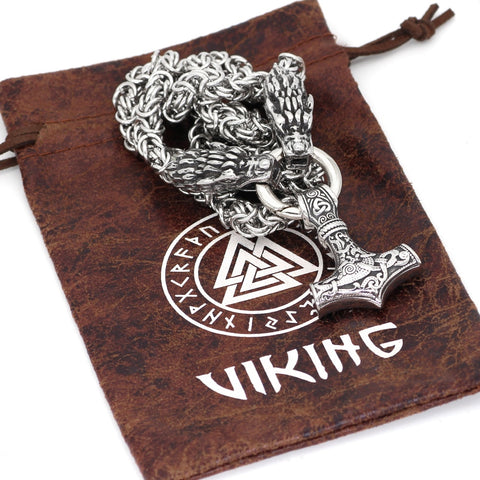 Image of 1stIceland Jewelry, Norse Vikings Wolf Head With Thor Hammer Stainless Steel Necklace - 1st Iceland