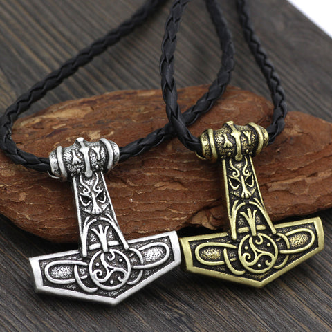 1stIceland Jewelry, Norse Vikings Odin Face Amulet Thor Hammer Mjolnir Rune Stainless Steel Necklace - 1st Iceland