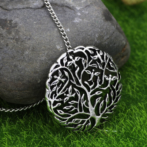 1stIceland Jewelry, Norse Vikings Tree Of Life Six Birds On The Tree Stainless Steel Necklace - 1st Iceland