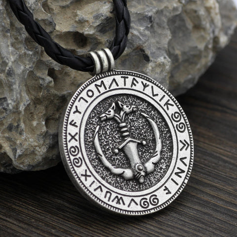 1stIceland Jewelry, Norse Vikings Odin Wolf In Vanir Sword Stainless Steel Necklace - 1st Iceland