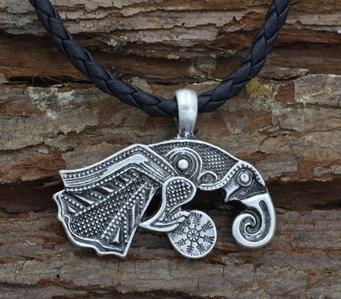 1stIceland Jewelry, Norse Vikings Raven of Odin Hugin Stainless Steel Necklace - 1st Iceland