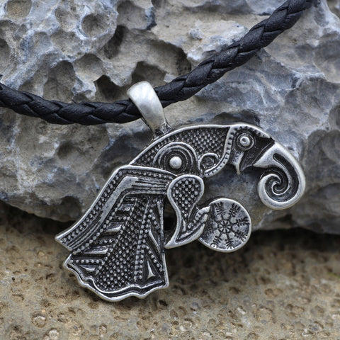 Image of 1stIceland Jewelry, Norse Vikings Raven of Odin Hugin Stainless Steel Necklace - 1st Iceland