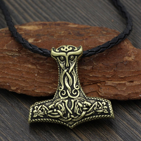 1stIceland Jewelry, Norse Vikings Odin Face Amulet Thor Hammer Mjolnir Stainless Steel Necklace - 1st Iceland