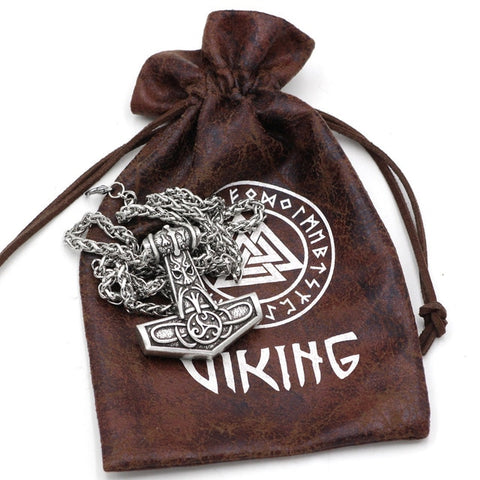 Image of 1stIceland Jewelry, Norse Vikings Odin Face Amulet Thor Hammer Mjolnir Rune Stainless Steel Necklace - 1st Iceland