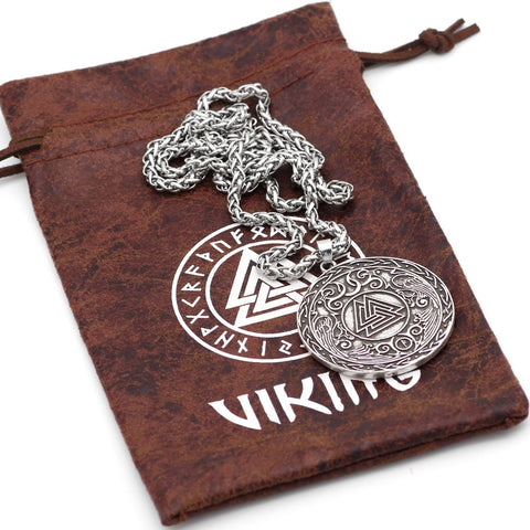 Image of 1stIceland Jewelry, Norse Vikings Pagan Amulet Odin Raven Stainless Steel Necklace - 1st Iceland