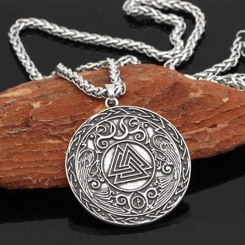 1stIceland Jewelry, Norse Vikings Pagan Amulet Odin Raven Stainless Steel Necklace - 1st Iceland