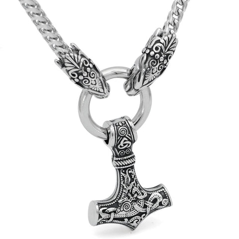 1stIceland Jewelry, Norse Vikings Oidn Wolf Head With Thor Hammer Mjolnir Stainless Steel Necklace - 1st Iceland