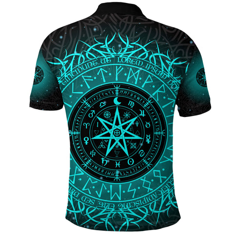 Image of 1stIceland Protection Symbol Polo Shirt Runic Witches Runes K8 - 1st Iceland