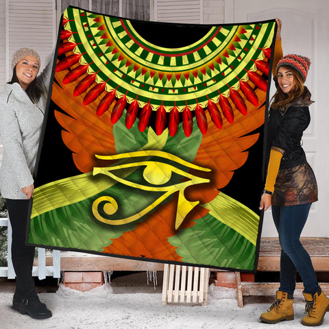 1stIceland Horus Eye Premium Quilt Ankh Egypt Eagle Wings K8 - 1st Iceland