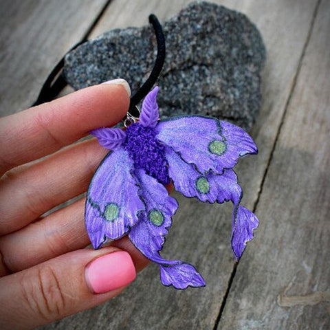 Purple Luna Moth Necklace TH19 - 1st Iceland