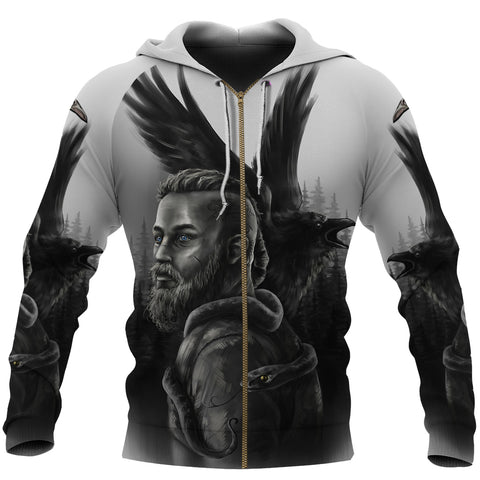 1stIceland Viking Zip Up Hoodie Ragnar Raven Of Odin K4 - 1st Iceland