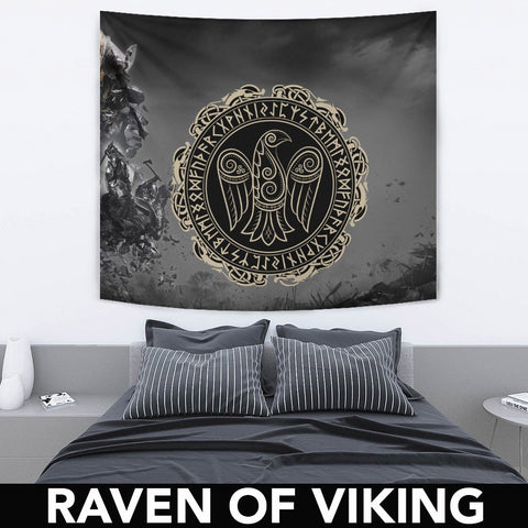 1stIceland Viking Tapestry, Odin's Raven Runes Circle A7 - 1st Iceland