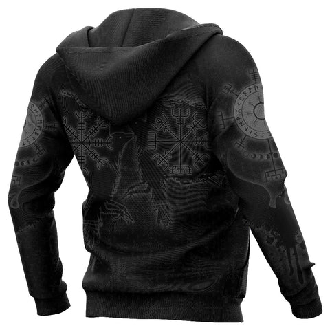 Image of 1stIceland Viking Valknut Huginn and Muninn Hoodie Yggdrasil, Vegvisir Helm of Awe - Black K8 - 1st Iceland