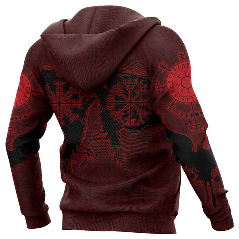 1stIceland Viking Valknut Huginn and Muninn Zip Hoodie Yggdrasil, Vegvisir Helm of Awe - Red K8 - 1st Iceland