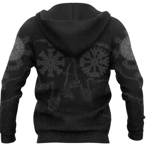 1stIceland Viking Valknut Huginn and Muninn Zip Hoodie Yggdrasil, Vegvisir Helm of Awe - Black K8 - 1st Iceland