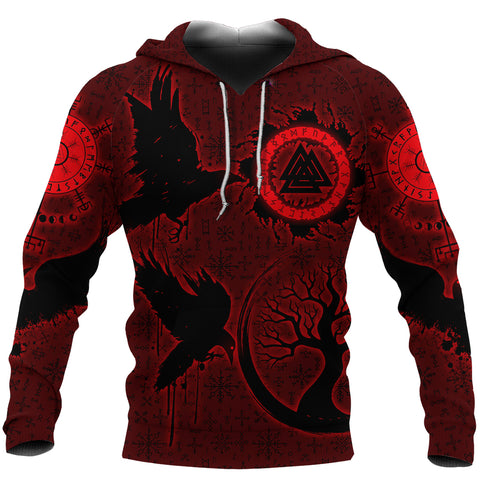 1stIceland Viking Valknut Huginn and Muninn Hoodie Yggdrasil, Vegvisir Helm of Awe - Red K8 - 1st Iceland