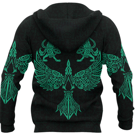 Image of 1stIceland Viking Hoodie Valhalla Raven and Wolf Turquoise K4