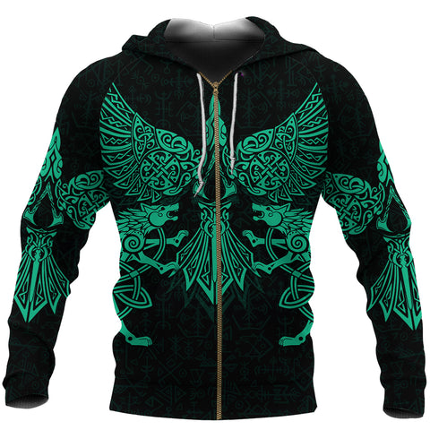 1stIceland Viking Zip Hoodie Valhalla Raven and Wolf Turquoise K4 - 1st Iceland