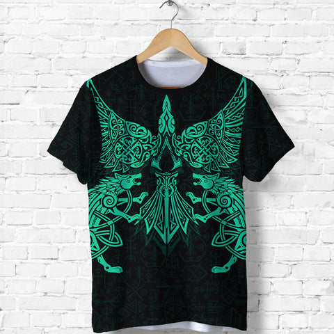 Image of 1stIceland Viking T Shirt Valhalla Raven and Wolf Turquoise K4 - 1st Iceland
