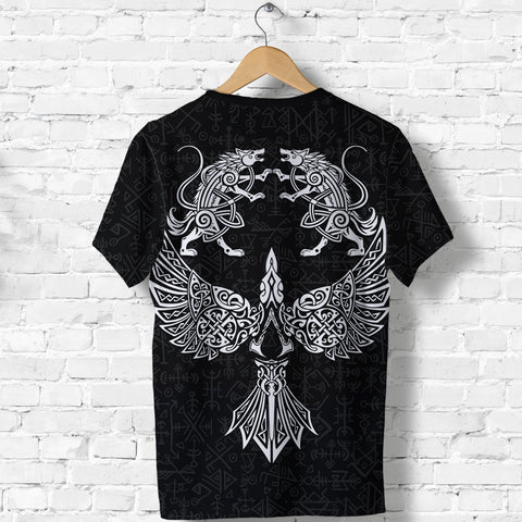 1stIceland Viking T Shirt Valhalla Raven and Wolf K4 - 1st Iceland