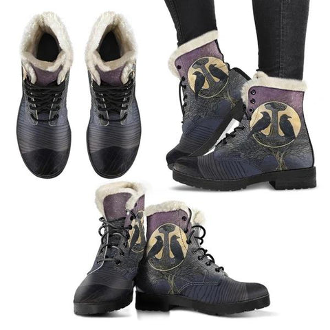 Image of 1stIceland Viking Faux Fur Leather Boots, Odin's Mjolnir Ravens Yggdrasil K5 - 1st Iceland