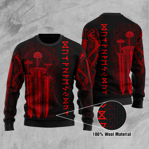 1stIceland Viking Sword 100% Wool Material Sweater Red