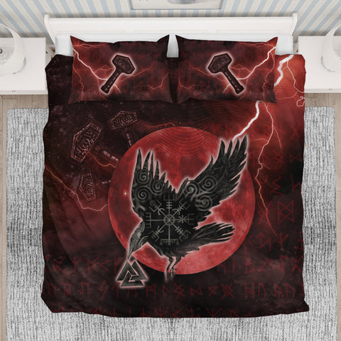 1stIceland Viking Bedding Set, Raven Helm Of Awe Valknut Mjolnir Rune TH70 - 1st Iceland