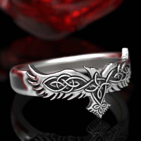 Sterling Silver Celtic Raven Ring TH17 - 1st Iceland